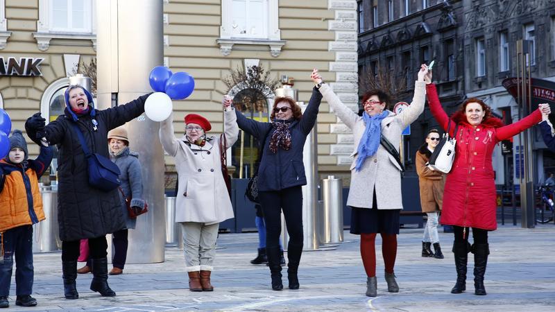 Flashmob a Nyugatinál / Fotó: Fuszek Gábor