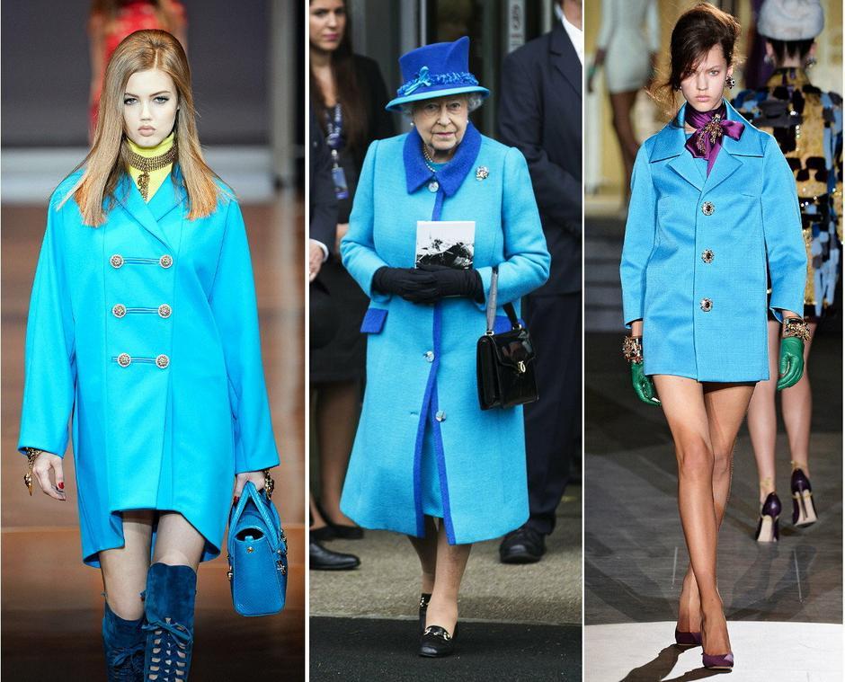 Niebieski płaszczyk Elżbiety II / Versace / DSquared2