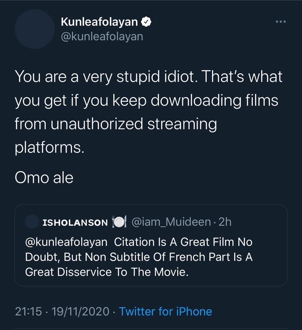 Kunle Afolayan's tweet [Twitter/kunleafolayan]