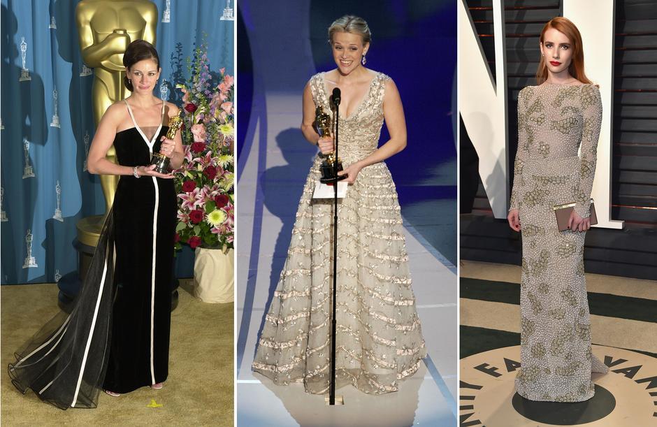Gwiazdy w kreacjach vintage: Julia Roberts w sukni Valentino, Reese Witherspoon w sukni Diora z 1955 r., Emma Roberts w kreacji vintage od Armaniego