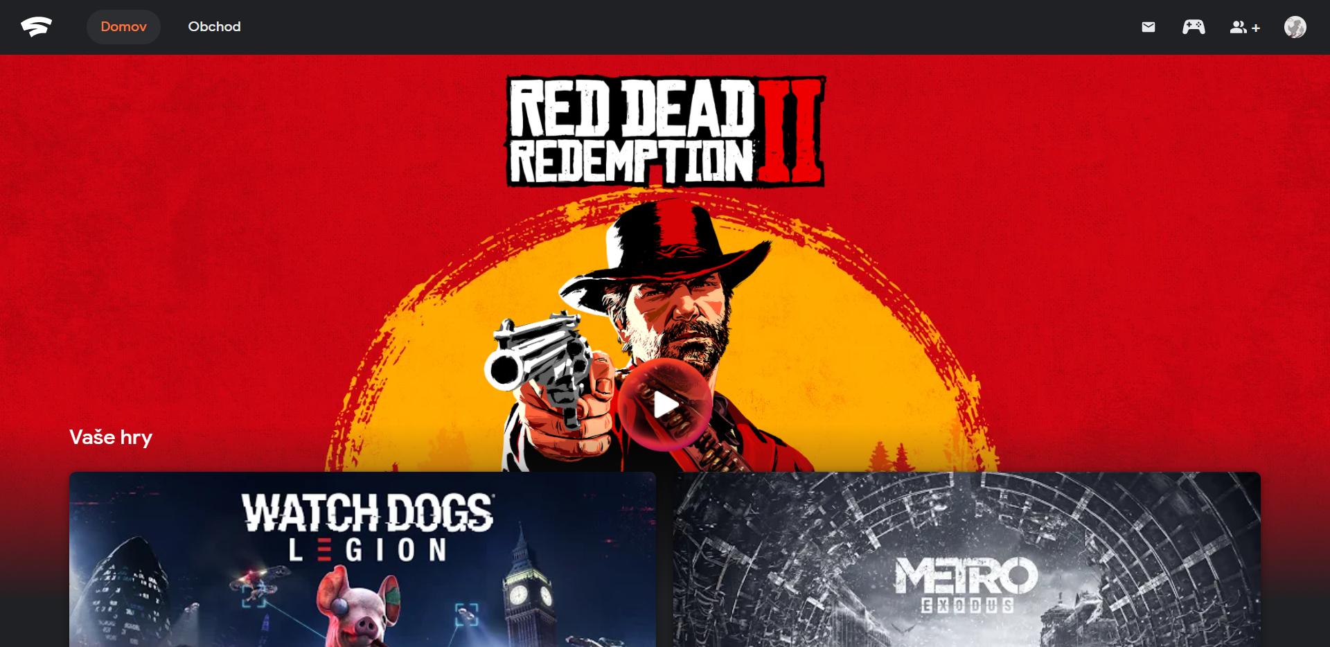 Na domovskej stránke Google Stadia sa zobrazujú tvoje zakúpené hry.
