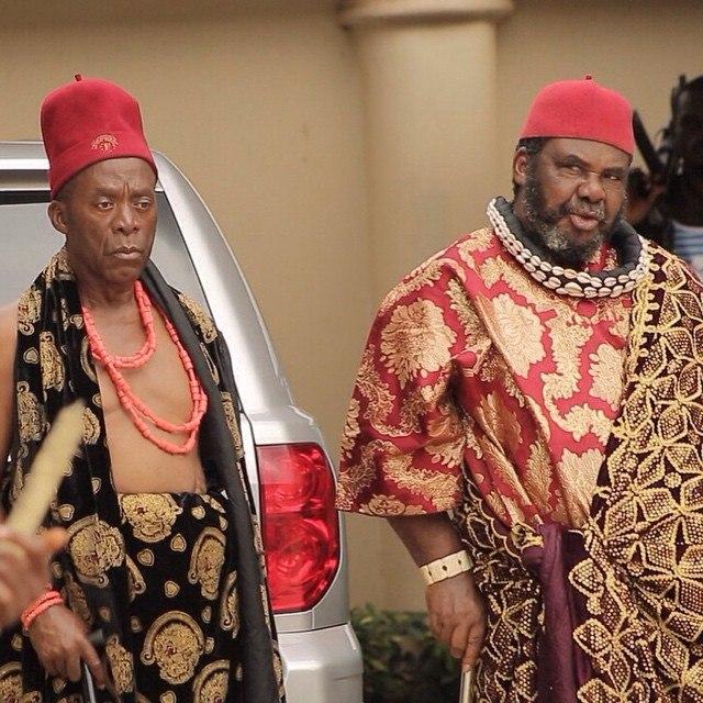 Zulu Adigwe and Pete Edochie on the set of Forbidden Land