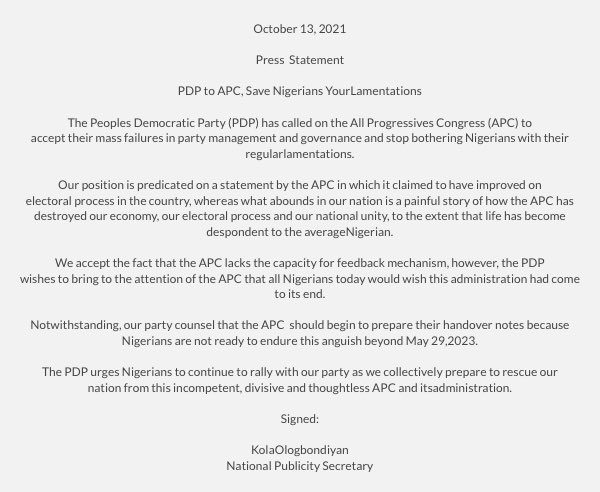 PDP's statement (PDP/Twitter)