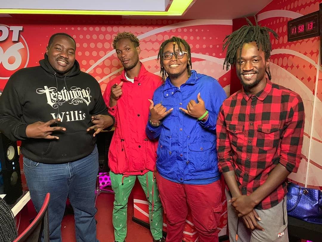 Ochungulo family with WIllis Raburu at Hot 96 studios. /PULSE LIVE KENYA