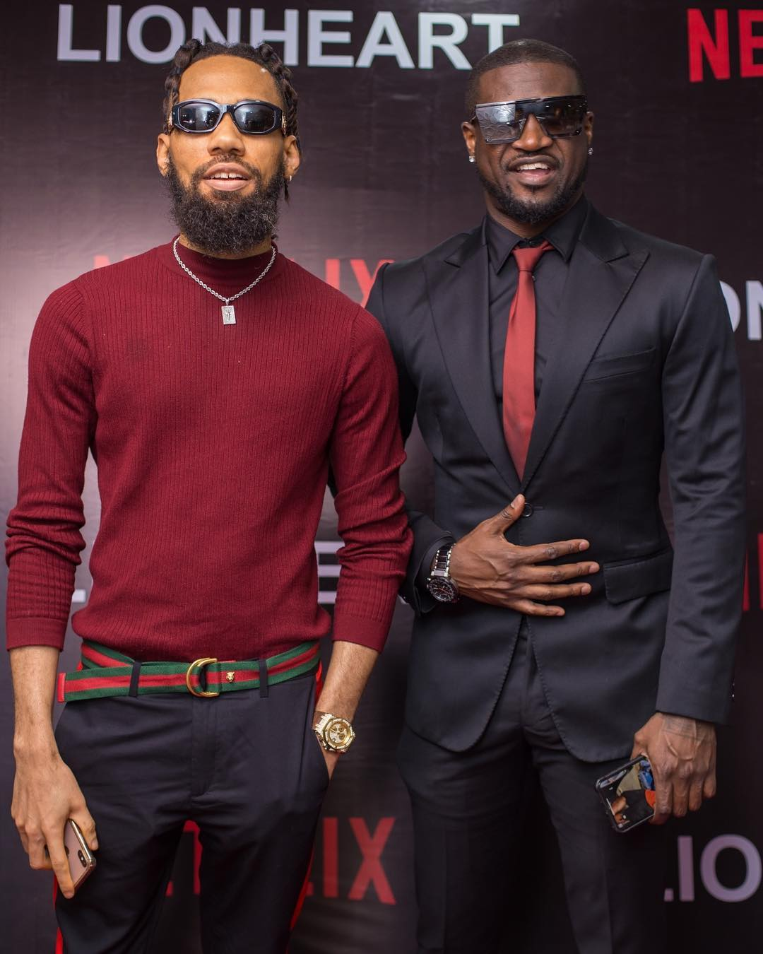 Phyno and Peter Psquare are two Nigerian popular music stars who featured in 'Lionheart. [Instagram/genevievennaji]