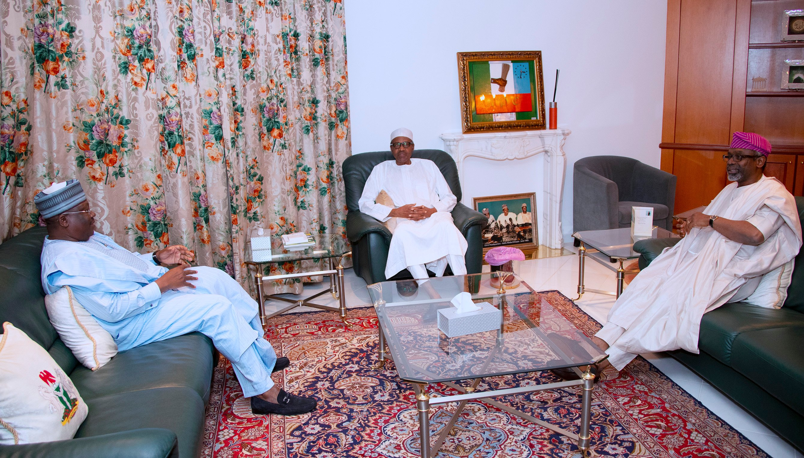 President Muhammadu Buhari, President of the Senate Ahmad Lawan and Speaker of the House of Representatives Hon. Femi Gbajabiamila [Twitter/@BashirAhmaad]