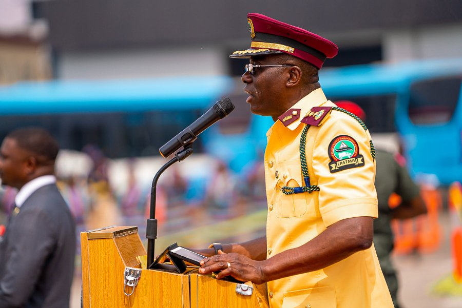 Lagos Gov Sanwo-olu addresses new recruits of LASTMA in Lagos on Wednesday, Feb 5, 2020 (Twitter: @Mr_Jags)
