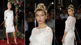 Best look: Hailey Baldwin w sukience Dolce&Gabbana