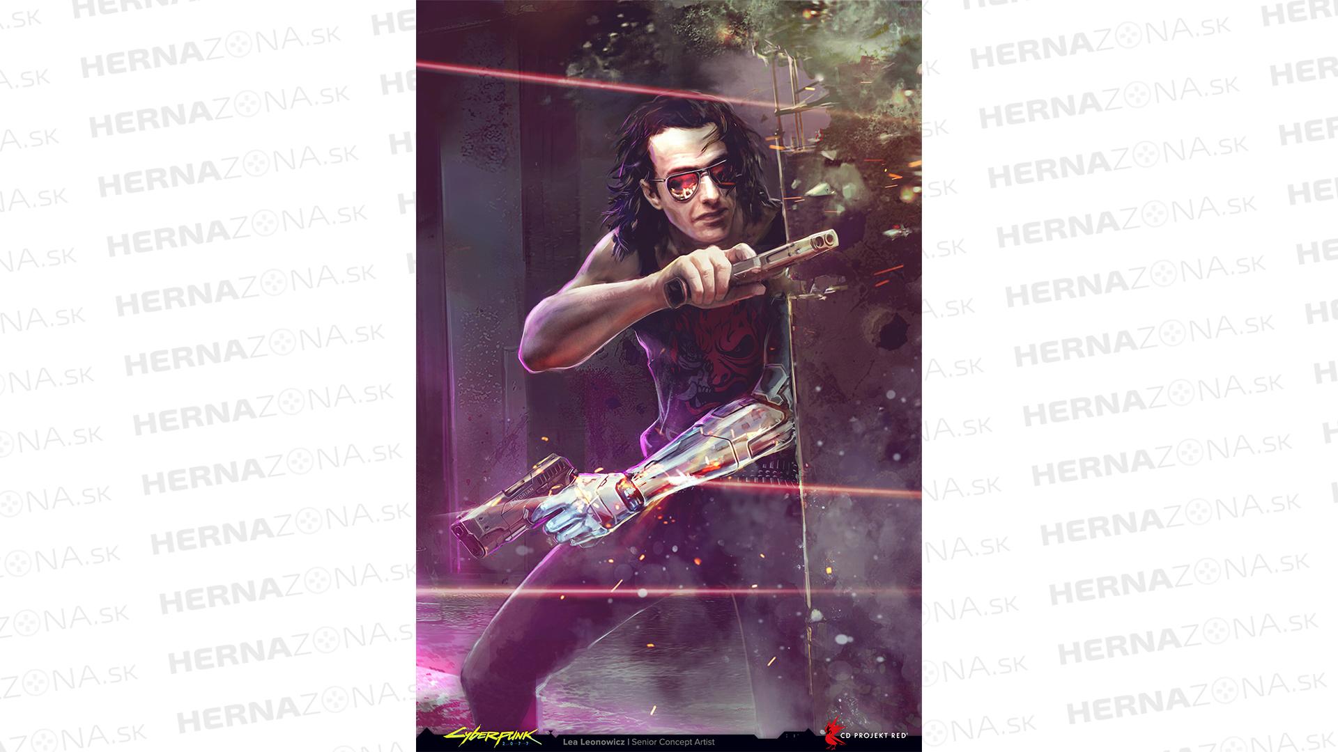 Štýlový concept art zobrazuje Johnnyho v akcii.