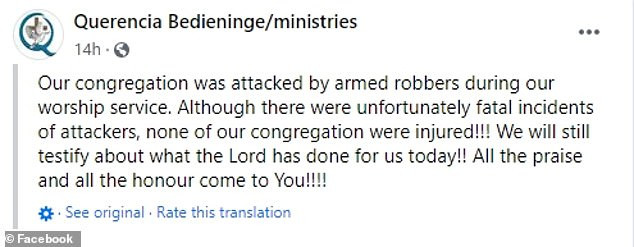 Church member kills 2 armed robbers as 3 of them invade the house of God