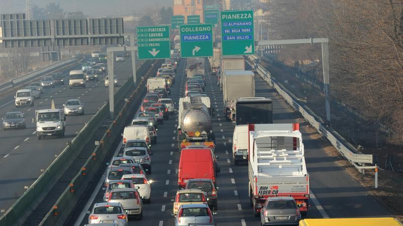 Strajk kierowców we Włoszech, fot. PAP/EPA