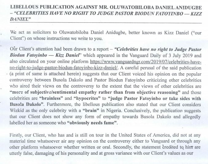 f68c44a80548f243fa7f86b9a88c88aa - Kizz Daniels makes true his threats as he sues Vanguard Newspaper over a 'false publication'