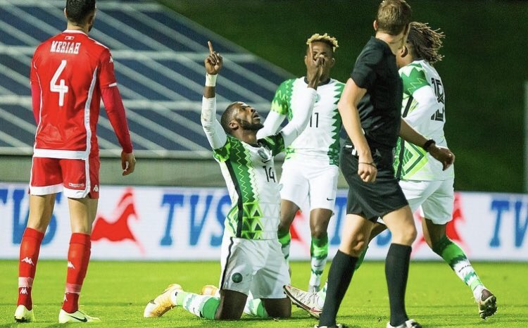 Kelechi Iheanacho, Alex Iwobi and Samuel Chukwueze (Twitter/Super Eagles)