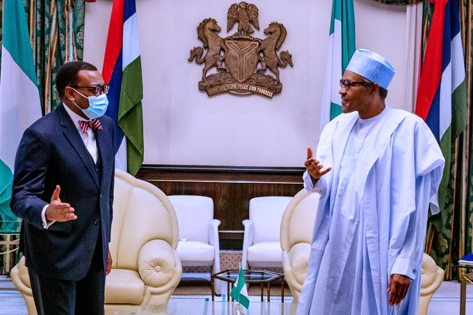 President Buhari receives Akin Adesina at the State House on June 2, 2020 (Presidency)