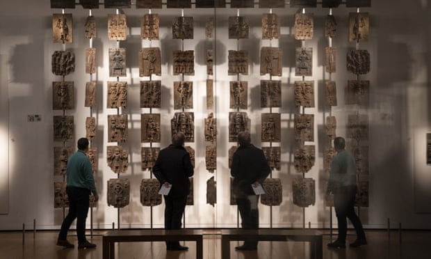Some of the Benin bronzes displayed in the British Museum
