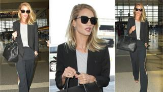 Best Look: Rosie Huntington-Whiteley w spodniach Chloe i marynarce Saint Laurent