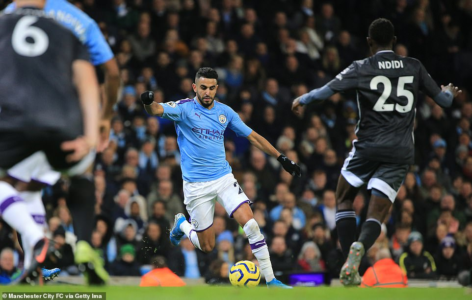 Wilfred Ndidi wasn't fast enough to close down Mahrez before Manchester City's equaliser(Manchester City via Getty Images)