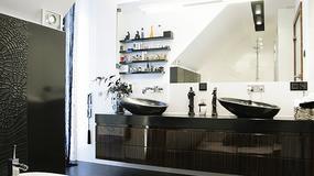 Czarno-biała łazienka w stylu vintage
