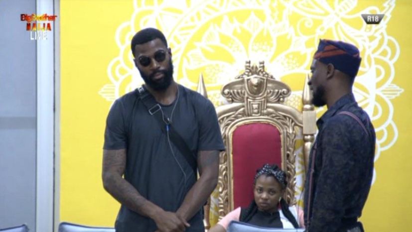 Mike and Omashola were up for eviction in the 11th week but Omashola saved and replaced himself with Seyi. [Twitter/BBNaija]
