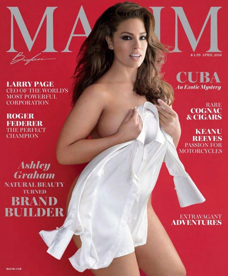 "Ashley Graham, modelka plus size, na okładce ""Maxim"""