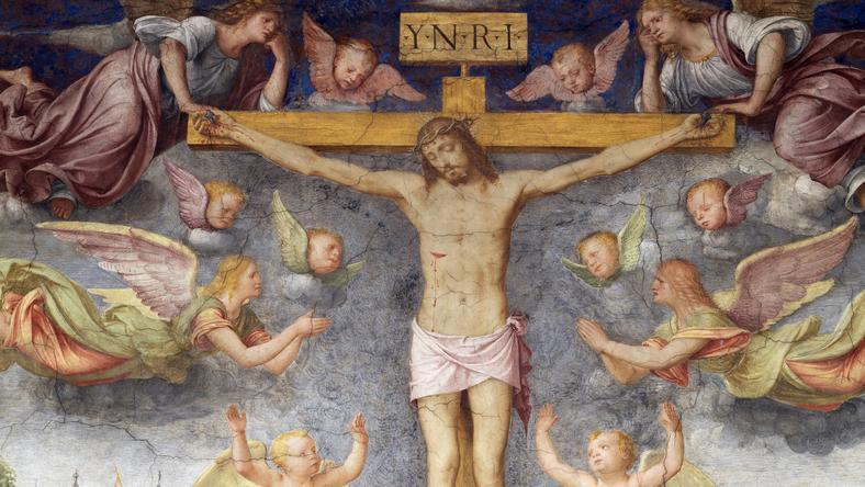 Bernardino Luini az 1500- as években készített alkotásán a keresztfára szegezett Jézust angyalok veszik körbe