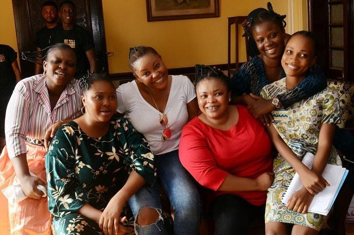 Dayo Amusa features Bimbo Thomas (Left), Toyin Alausa and Segun Arinze in her 2019 advocacy film, 'Omoniyun' [Instagram/Dayo Amusa]