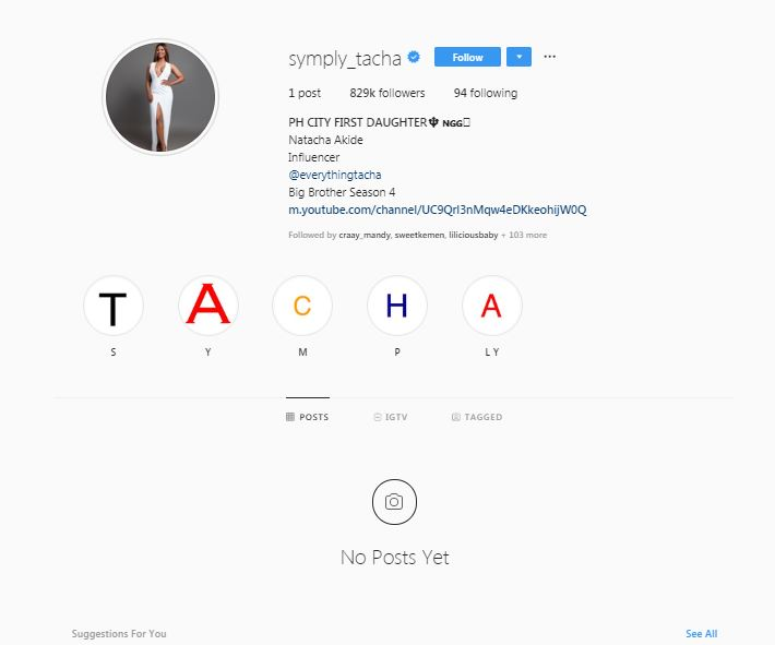 The reality TV star deleted all her photos on Thursday, October 10, 2019. Just like every other celebrity that has deleted all their photos from Instagram, she didn't give any reasons. [Instagram/Symply_Tacha]
