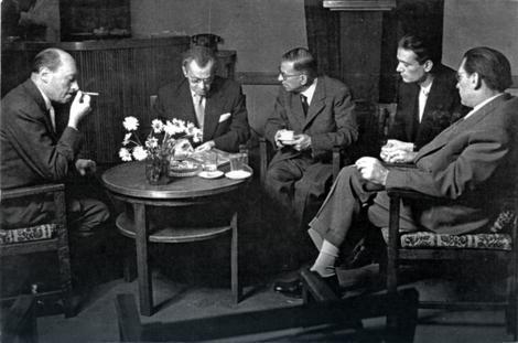 Mata Milošević, Milan Dedinac, Žan-Pol Sartr, Jovan Ćirilov i Milenko Šerban u Jugoslovenskom dramskom pozorištu