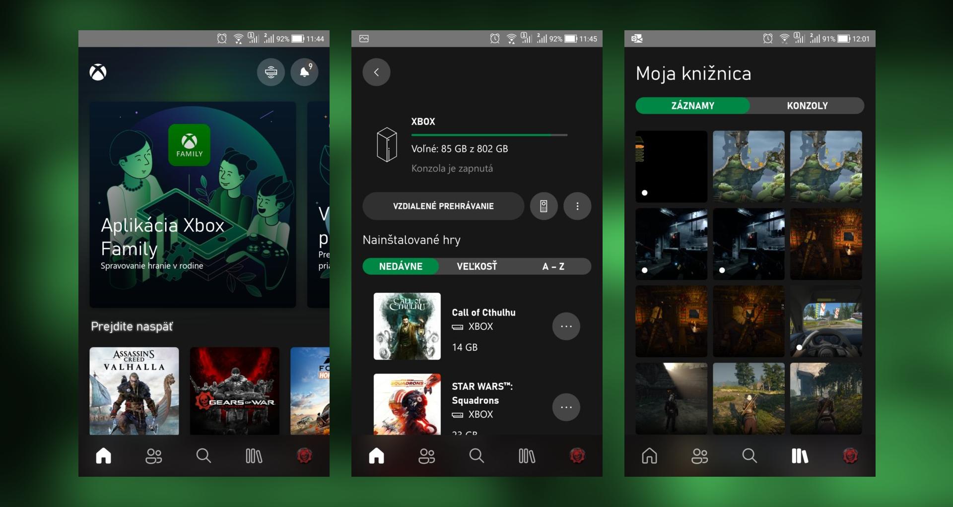 V mobilnej appke Xbox nájdeš aj galériu médií, teda tebou zachytené screenshoty a videá z hier. Vieš sa na konzolu aj priamo pripojiť a streamovať z nej obraz do mobilu.
