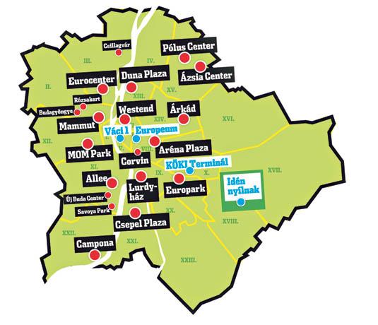 budapest bevásárlóközpontok térkép Három új plázát nyitnak a fővárosban   Blikk.hu budapest bevásárlóközpontok térkép