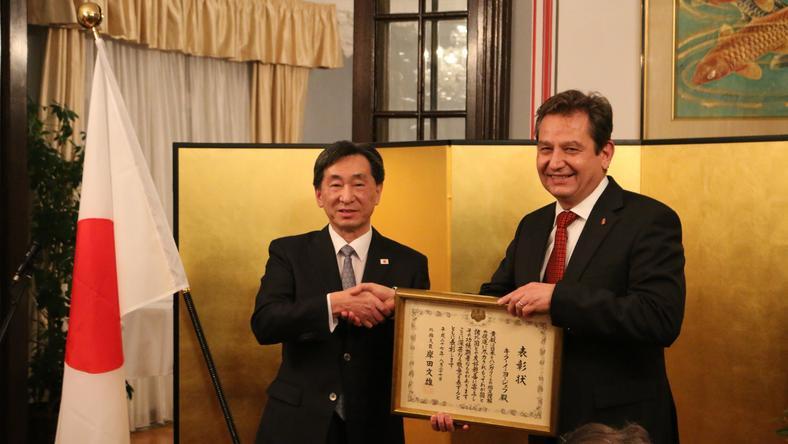 Japán Külügyminiszteri Kitüntetést vehett át a politikus / Fotó: Japán nagykövetség