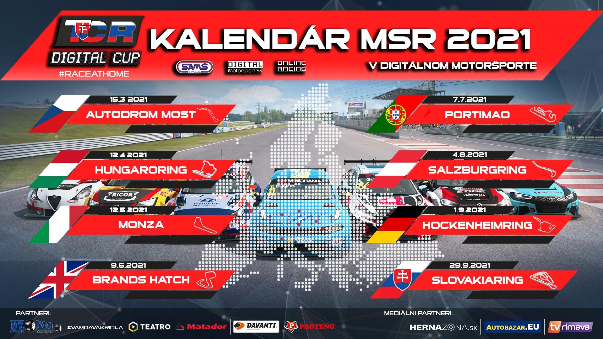 Aktualizovaný kalendár Majstrovstiev Slovenskej republiky v digitálnom motoršporte 2021 v triede TCR.
