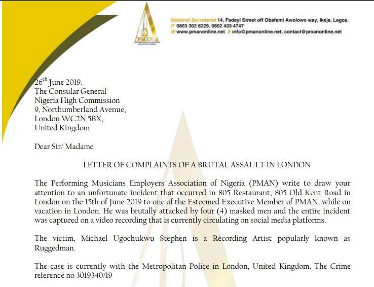 fd007dbe71cc0c2dd3356fe347b99347 - PMAN writes Nigeria High Commission in UK over attack on Ruggedman
