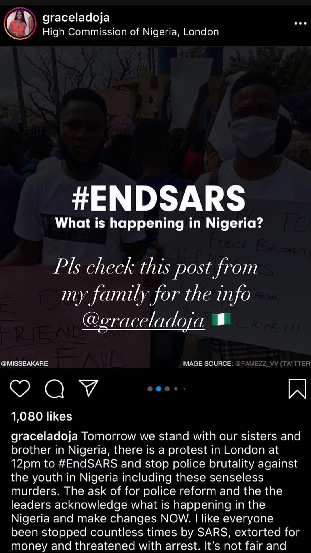 Drake joins the #EndSars protest in Nigeria [Instagram/ChampagnePapi]