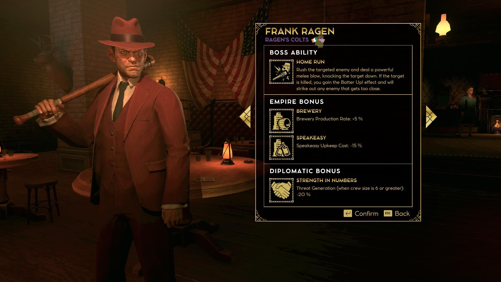 Na výber je široká škála rôznych mafiánskych bossov s unikátnymi vlastnosťami.