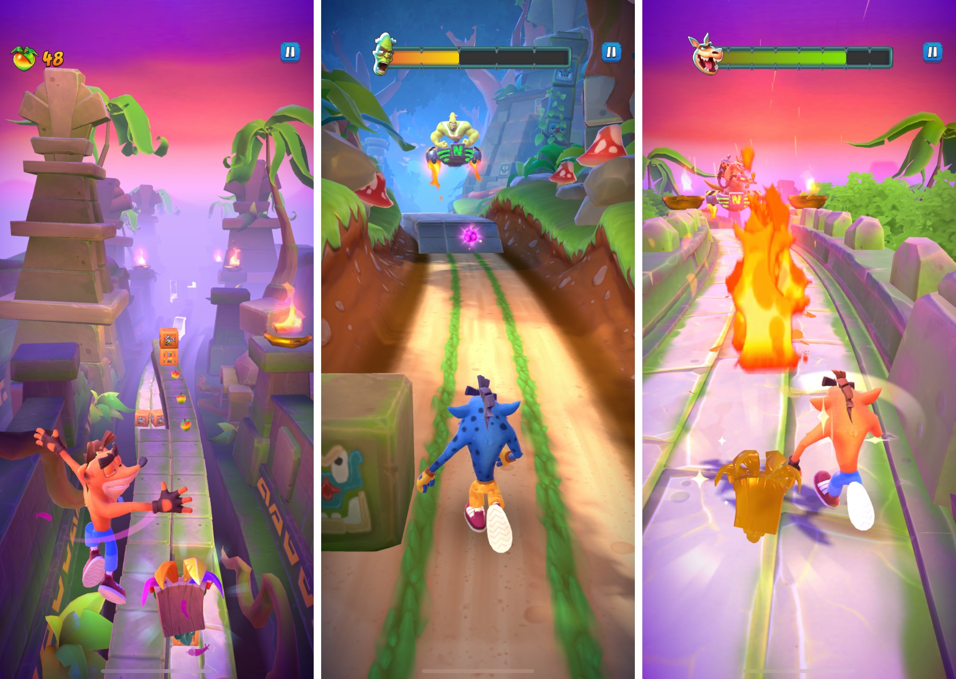 Crash veľa skáče, prípadne sa uhýba skalám či nástrahám protivníkov.