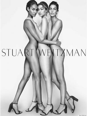 Gigi Hadid, Joan Smalls i Lily Aldridge nago w kampanii Stuarta Weitzmana