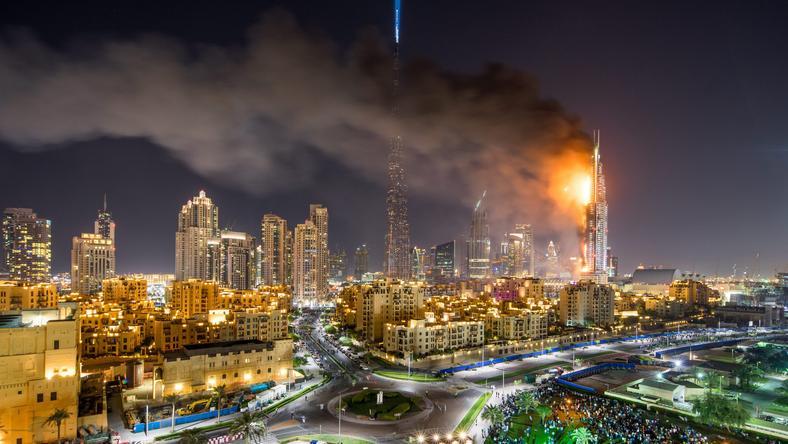 Egy kigyulladt függöny okozta a hatalmas tüzet az Address Downtown hotelben/ Fotó: MTI