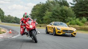 Mercedes-Benz AMG GT S i MV Agusta F3 - pojedynek rywali z jednej drużyny