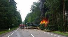 Horror pod Chojnicami. Ciężarówka stanęła w płomieniach