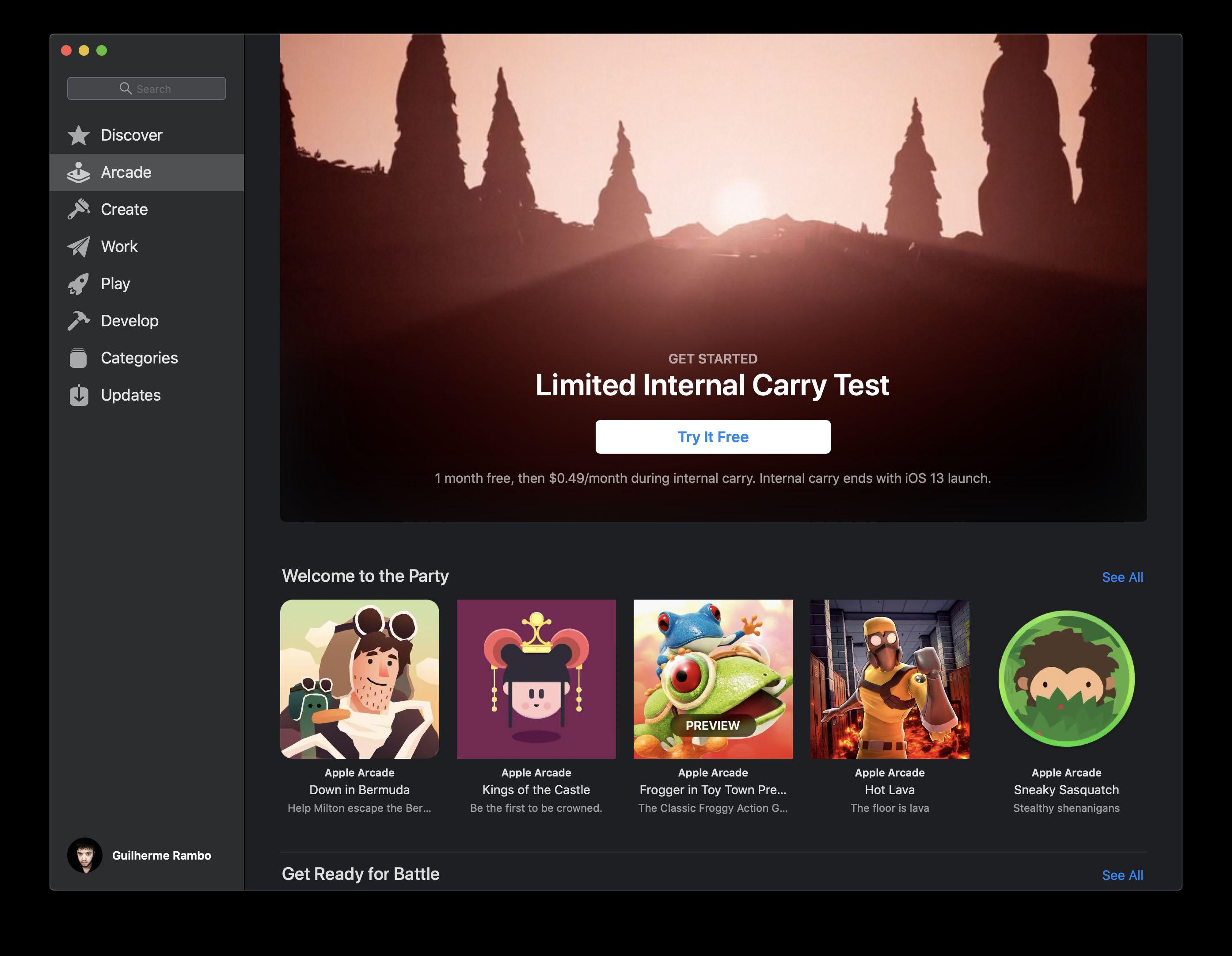 Ukážka prostredia Arcade na Mac App Store.