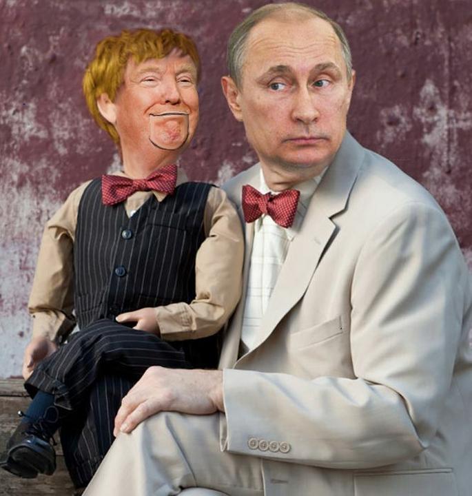 A híres hasbeszélő bábú, Charlie McCarthy szerepében Trump, Edgar Bergen bábjátékost pedig Putyin játssza /Fotó:Pinterest