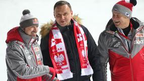 Prezydent Andrzej Duda z trybun oklaskiwał polskich skoczków