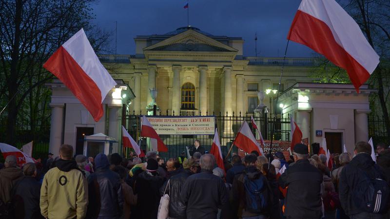 WARSZAWA AMBASADA ROSJI PROTEST ROCZNICA SMOLEŃSKA (demonstracja)