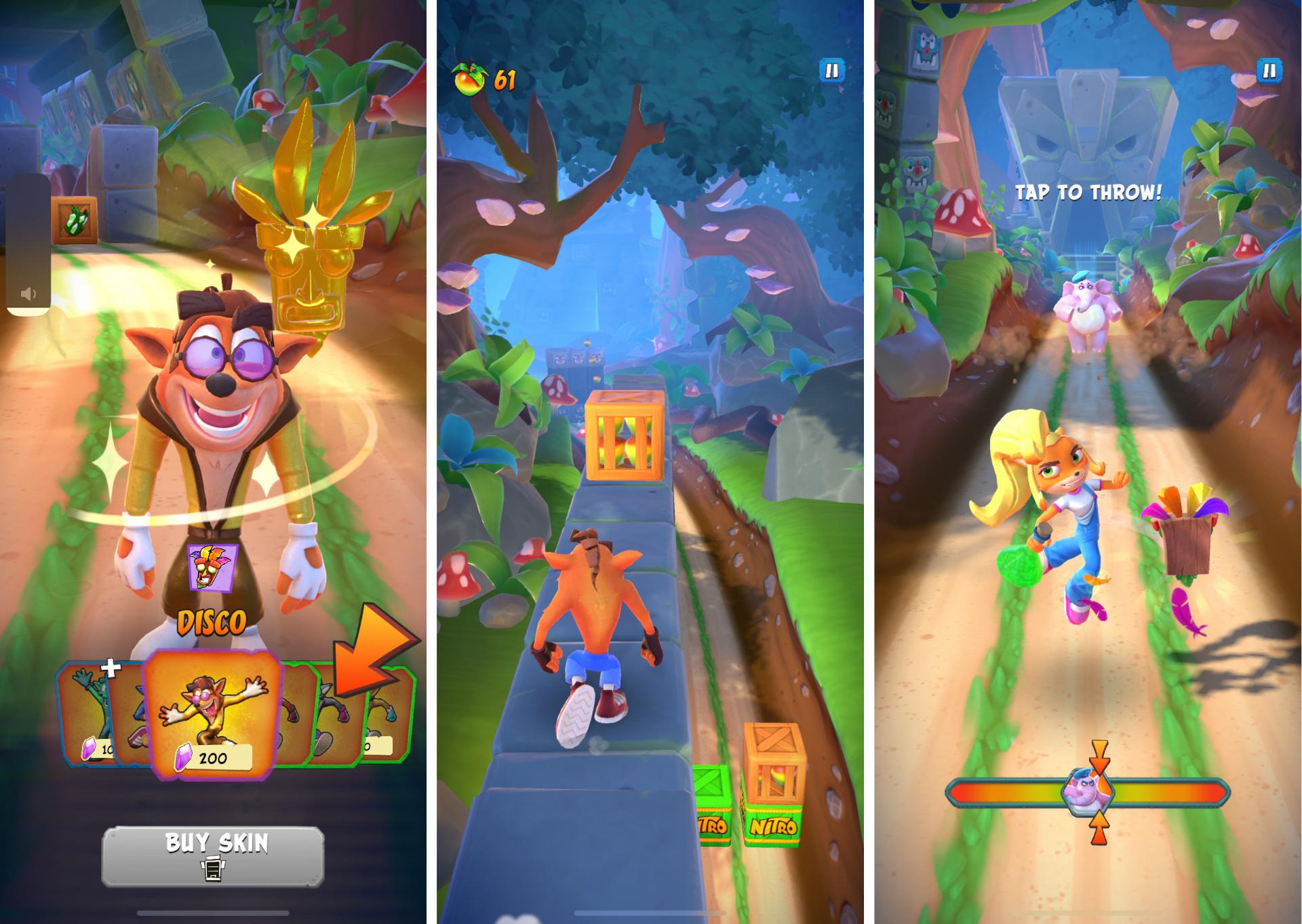 V hre sa dajú odomknúť či zakúpiť rôzne skiny a hrať môžeme aj za Coco.