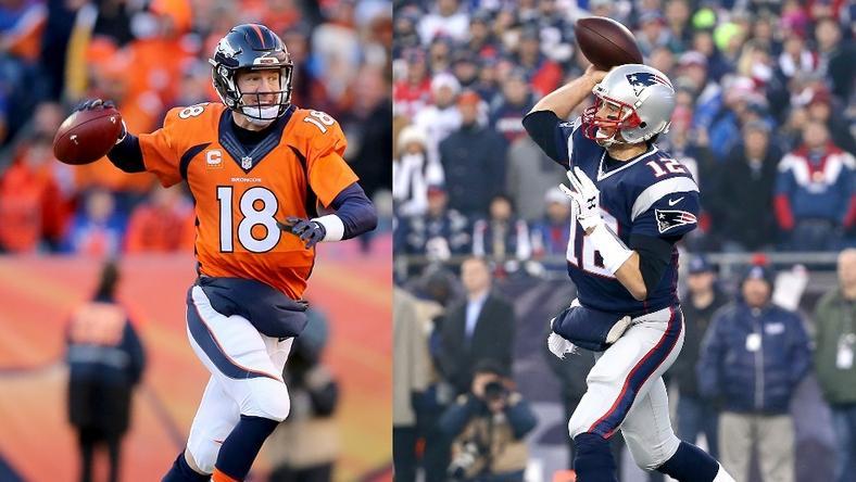 Manning és a Denver Broncos győzni szeretne Brady csapata ellen, hogy bejusson a Super Bowlba. Tom Brady eddig 11-szer győzte le Manninget és aktuális együttesét / Fotó: Europress-Getty images