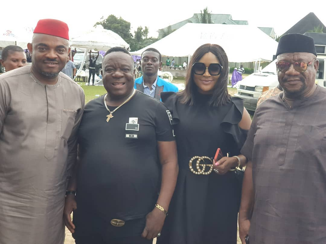 Emeka Rollas, John Okafor aka Mr Ibu, Uche Elendu and Alex Usifo at the AGN national elections. [Instagram/ucheelendu]