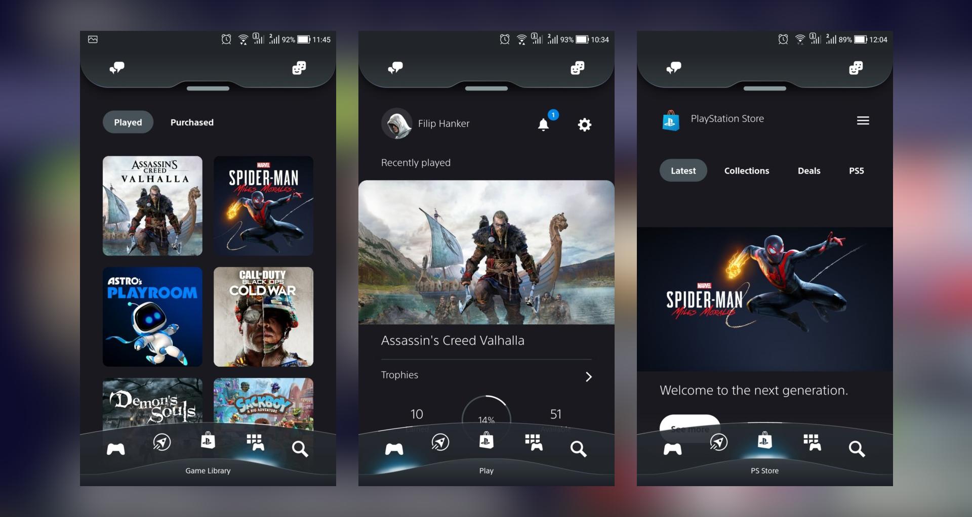 V PS App galériu médií nenájdeš a ak chceš streamovať obraz z konzoly do mobilu, musíš použiť appku PS Remote Play.