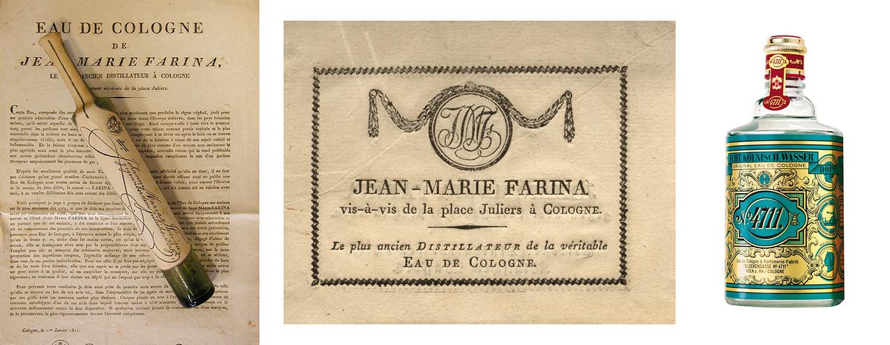 Z lewej: pierwszy flakon Eau de Cologne Fariny, z prawej: współczesny wygląd Wody Kolońskiej