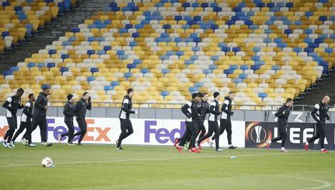 Fudbaleri Partizana na treningu u Kijevu
